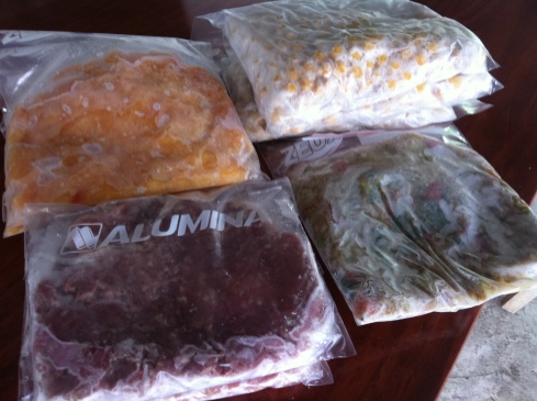 "Just a little selection of the ""ready-to-go"" foods I keep in my freezer.  Clockwise from top-right: cooked chickpeas, cooked lentil and vegetable stew, raw minced beef and raw cubed chicken. I know how much of everything (cals, fat, protein, carbs) is in each Ziploc bag."