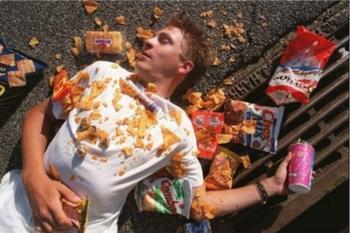 Just try not to end up like this guy at the end of the day! Food-hangovers can be pretty bad!