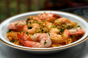 This seafood rice (arroz de mariscos) is spectacular, especially when it's full of shrimp like this