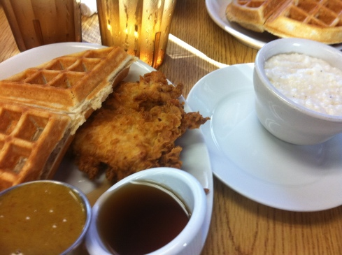 Yup, Fried Chicken and Waffles... for breakfast. I ate it coz the sign told me to.