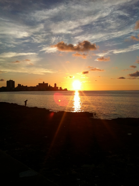 A great sunset caught walking along the famous Malecon in Havana