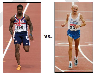 Excessive cardio (e.g. long distance running) can often result in the body type seen on the right. Probably not the look most people are going for.